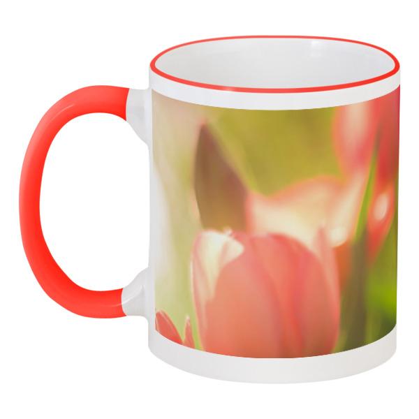 Printio Кружка с цветной ручкой и ободком Тюльпаны printio кружка тюльпаны