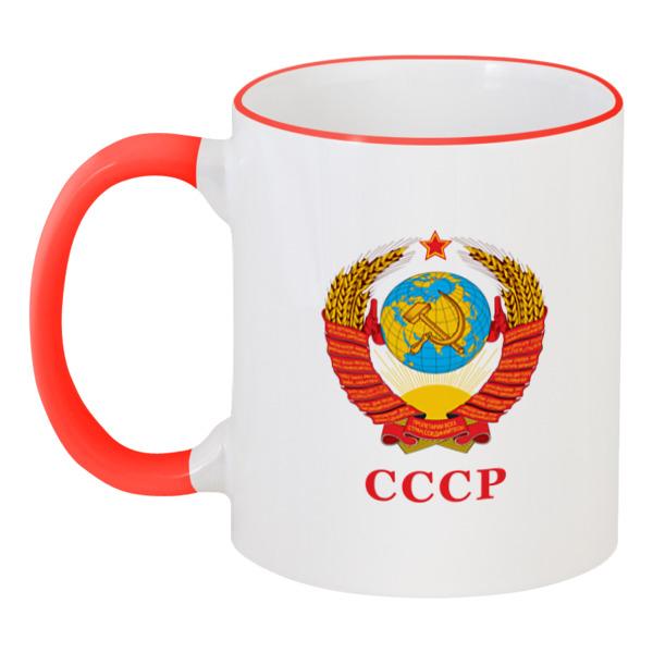 Printio Кружка с цветной ручкой и ободком Герб советского союза (ссср)