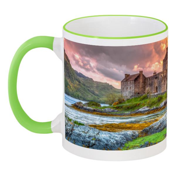 Фото - Printio Кружка с цветной ручкой и ободком Замок в шотландии набор полесье замок башня замок стена с двумя башнями замок мост 37251
