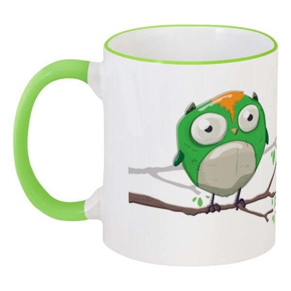 Printio Кружка с цветной ручкой и ободком Зеленый совенок. нет кофе, нет работы