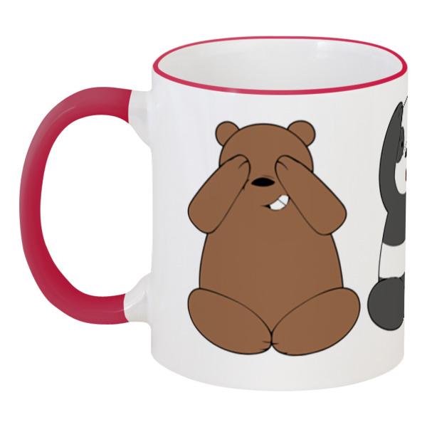 кружка с цветной ручкой и ободком printio mamewax Printio Кружка с цветной ручкой и ободком Медведи и панда