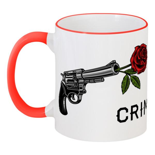 Printio Кружка с цветной ручкой и ободком Роза и револьвер