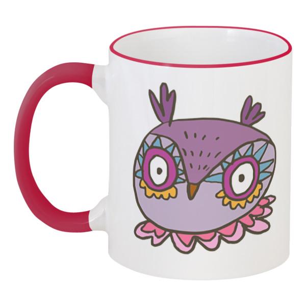 3d кружка printio сова и футбол Printio Кружка с цветной ручкой и ободком Этно сова