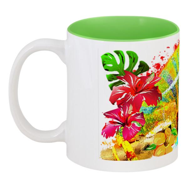 Фото - Printio Кружка цветная внутри Хамелеон с цветами в пятнах краски. printio 3d кружка хамелеон