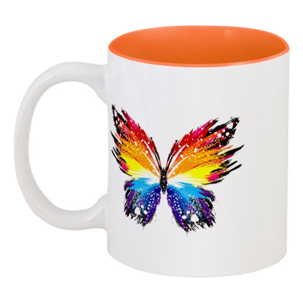 Printio Кружка цветная внутри Бабочка, радуга
