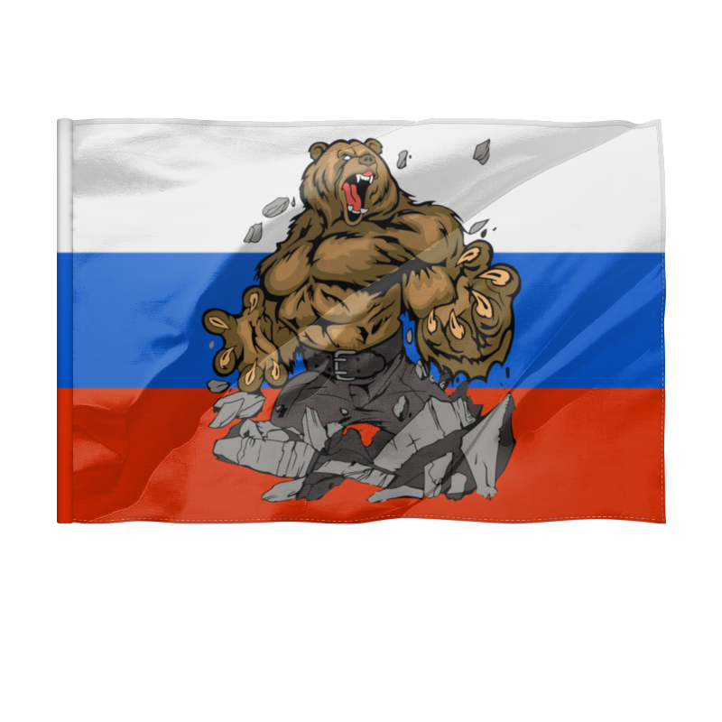 Printio Флаг 135×90 см Флаг россии.медведь