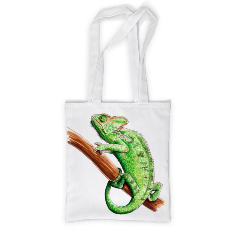 Printio Сумка с полной запечаткой Зеленый хамелеон на ветке printio сумка с полной запечаткой зеленый человек