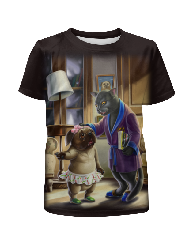 Printio Футболка с полной запечаткой для мальчиков Кошечка с собакой футболка с полной запечаткой для мальчиков printio ac dc