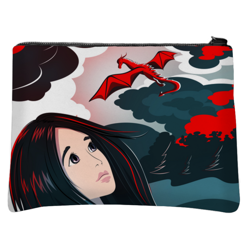 Printio Косметичка с полной запечаткой Девушка и дракон