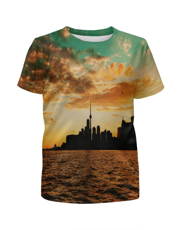 printio футболка с полной запечаткой для девочек город Printio Футболка с полной запечаткой для девочек Вечерний город