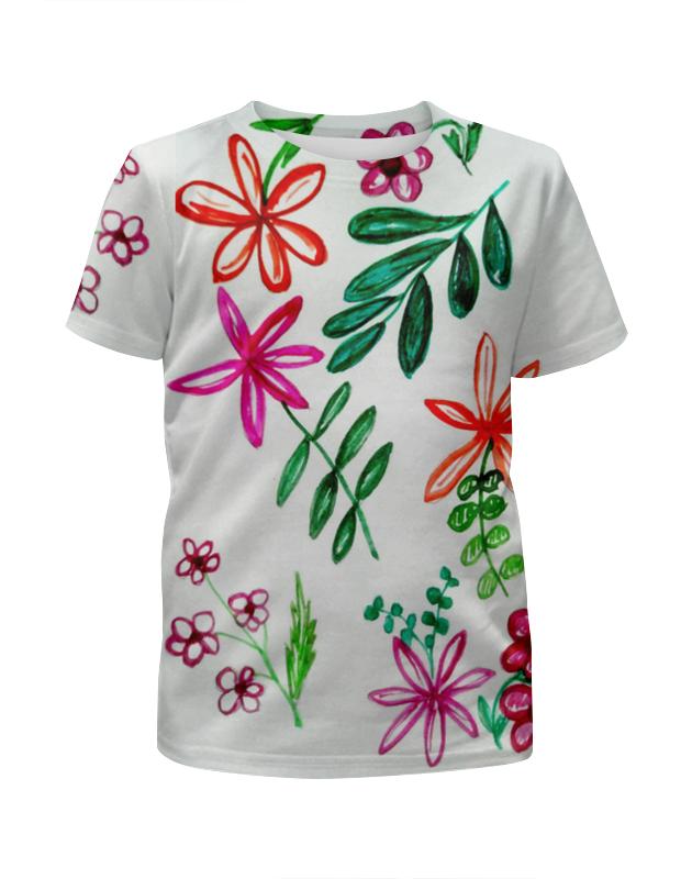 Printio Футболка с полной запечаткой для девочек Цветы на белом