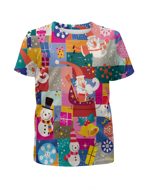 Printio Футболка с полной запечаткой для девочек Санта и подарки