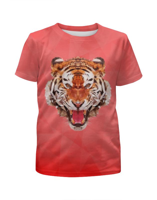 Printio Футболка с полной запечаткой для девочек Полигональный тигр