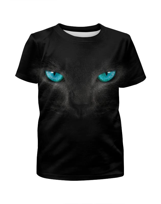 Printio Футболка с полной запечаткой для девочек Взгляд черной кошки