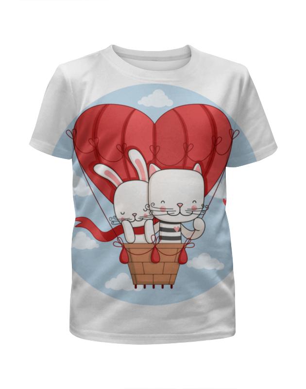 Printio Футболка с полной запечаткой для девочек Кот и зайка на воздушном шаре. парные футболки.