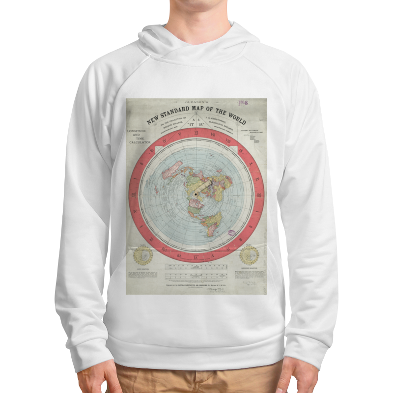 Printio Толстовка с полной запечаткой Карта плоской земли