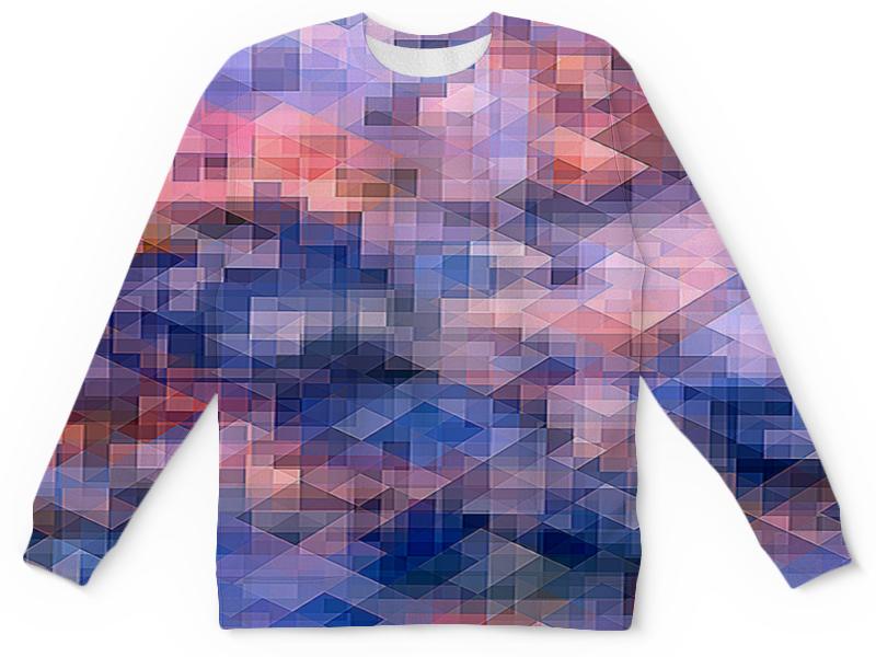 Printio Детский свитшот с полной запечаткой Пиксель-арт. сине-розовый паттерн