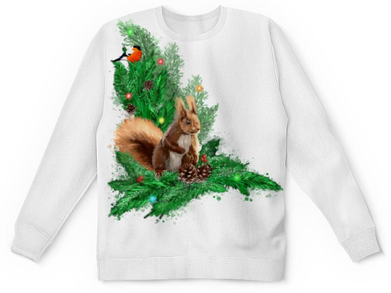 Printio Детский свитшот с полной запечаткой Белочка с шишками на елке. printio свитшот мужской с полной запечаткой белочка с шишками на елке