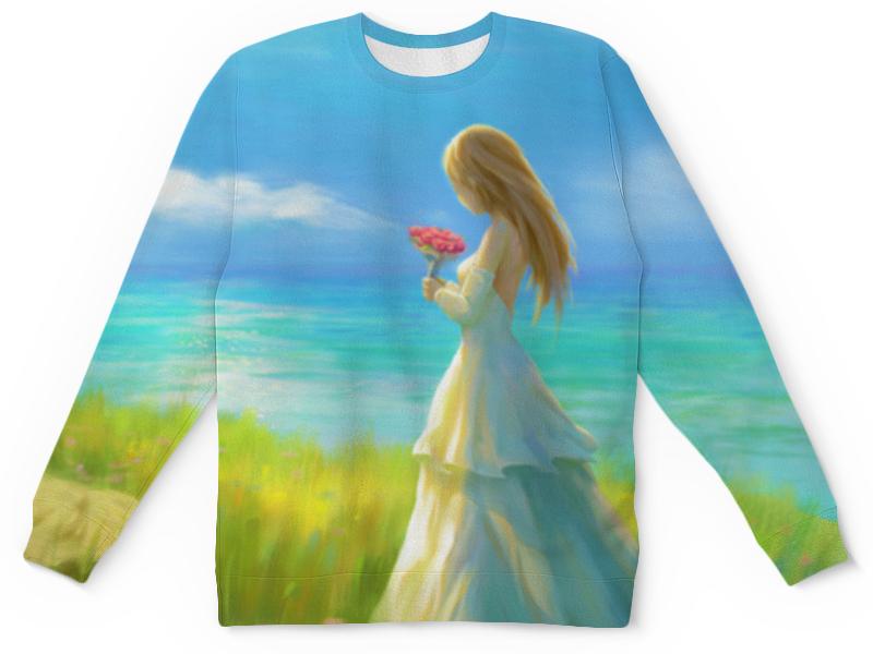Printio Детский свитшот с полной запечаткой Девушка с цветами printio детский свитшот с полной запечаткой 8111as a
