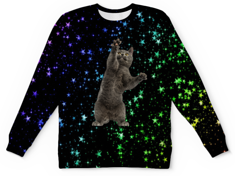 Printio Детский свитшот с полной запечаткой кот и звезды детский свитшот унисекс printio елки и звезды