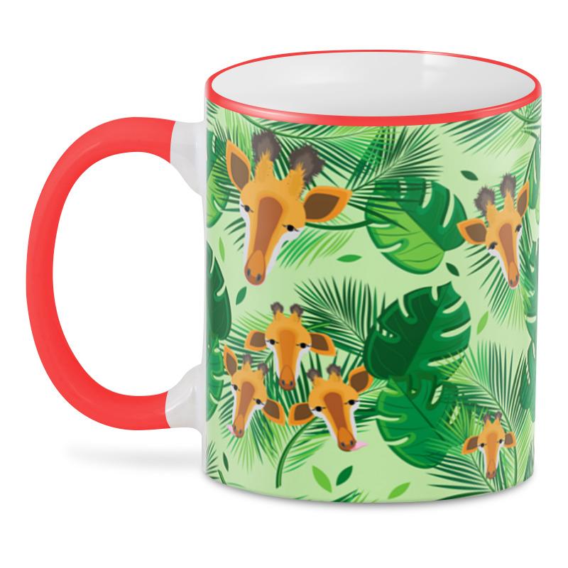 Printio 3D кружка Жирафы в тропических листьях