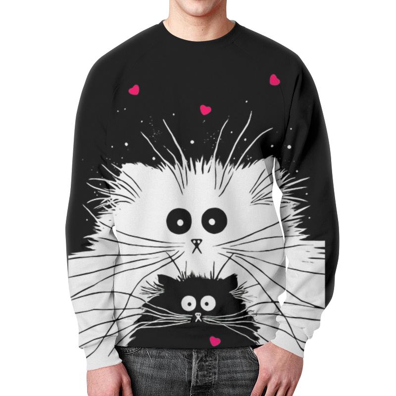 Printio Свитшот мужской с полной запечаткой Белый кот черная кошка (1)