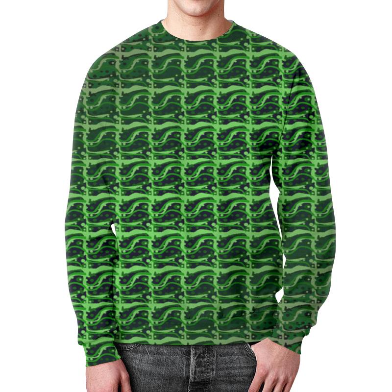 Printio Свитшот мужской с полной запечаткой Зеленая абстракция.