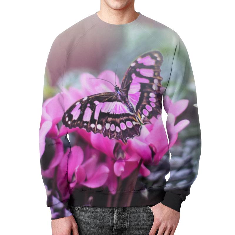 Printio Свитшот мужской с полной запечаткой Бабочка на цветах