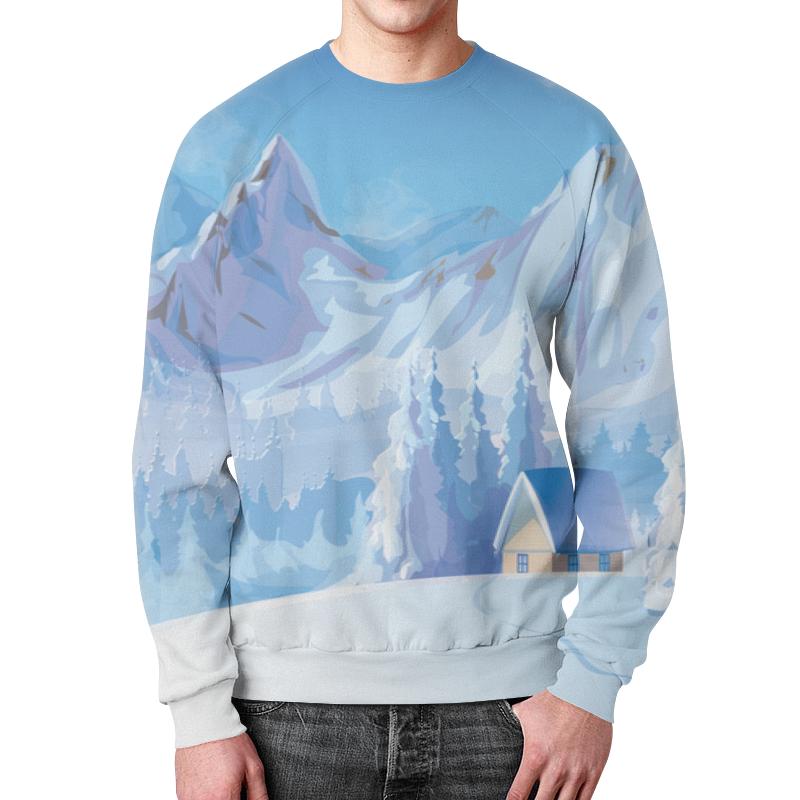 Printio Свитшот мужской с полной запечаткой Зимний пейзаж