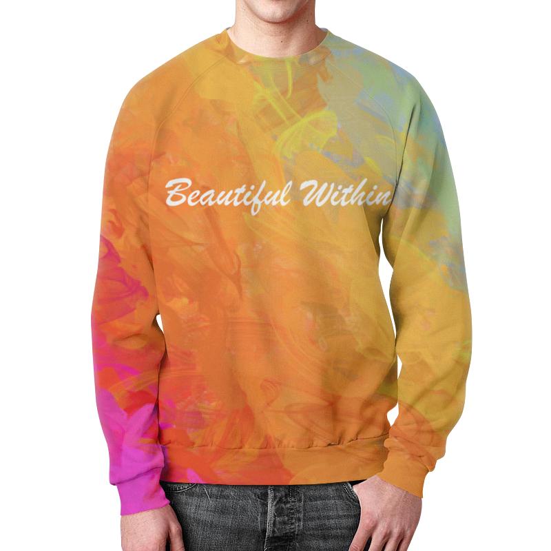 Printio Свитшот мужской с полной запечаткой Яркий радужный дизайн с надписью beautiful свитшот с надписью из фетрина 3 12 лет