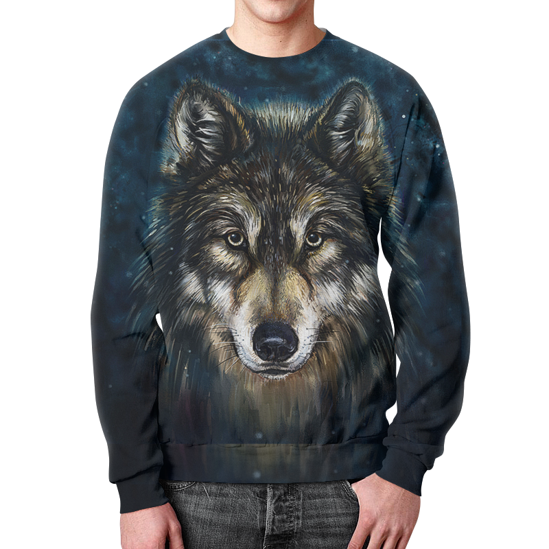 Printio Свитшот мужской с полной запечаткой Волки фэнтези. седой волк printio рюкзак 3d волки фэнтези седой волк