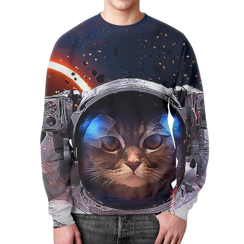 Printio Свитшот мужской с полной запечаткой Котик в космосе