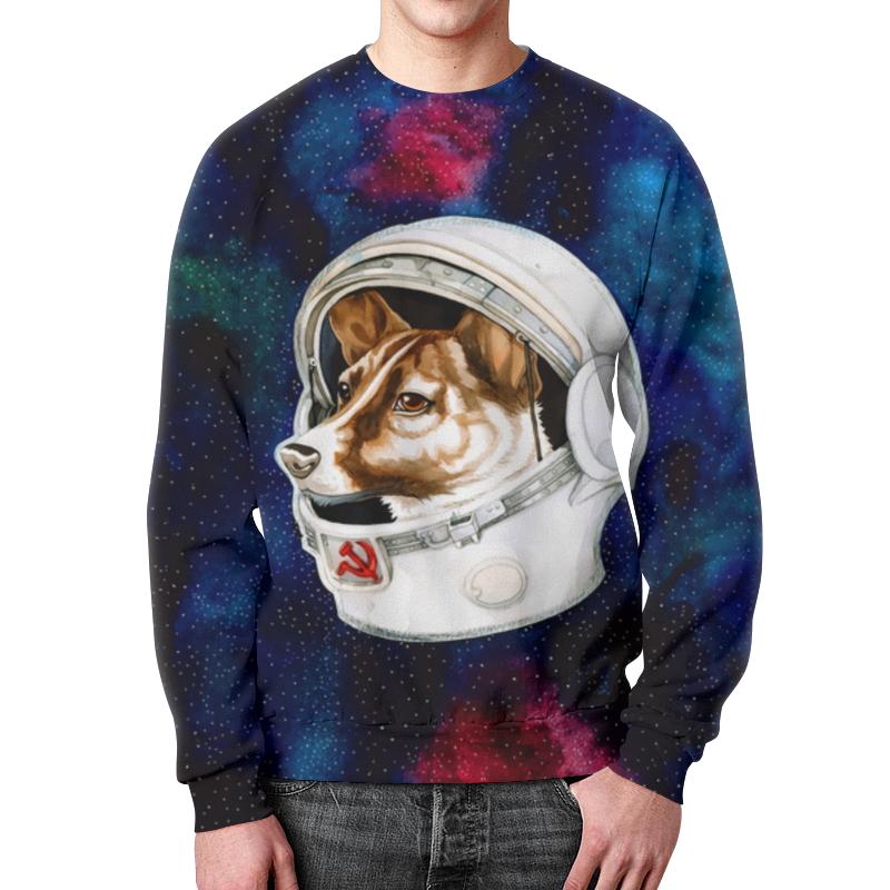 Printio Свитшот мужской с полной запечаткой Собака в космосе
