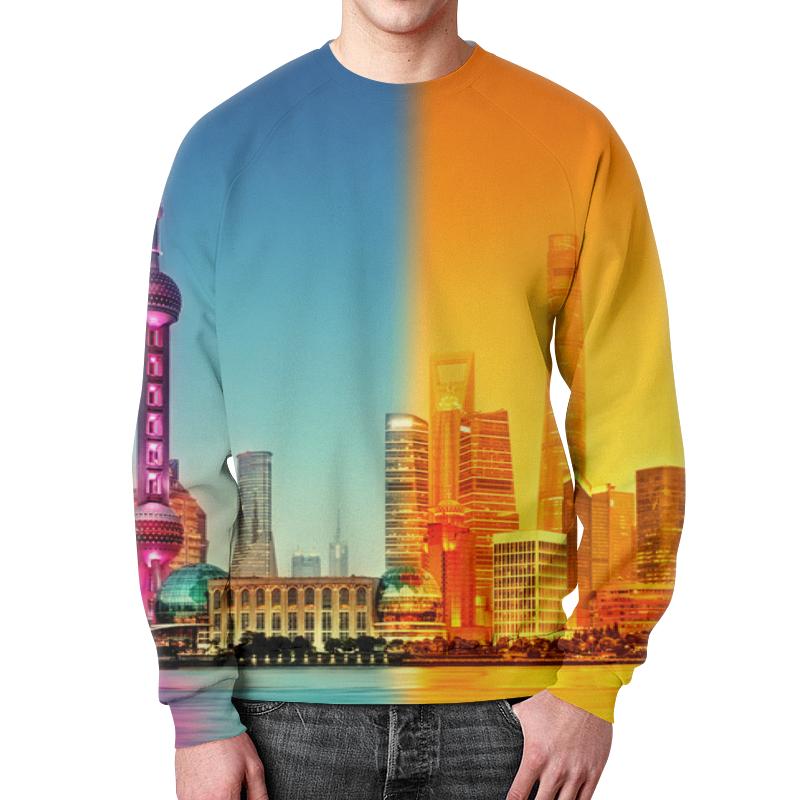 Printio Свитшот мужской с полной запечаткой Город в красках