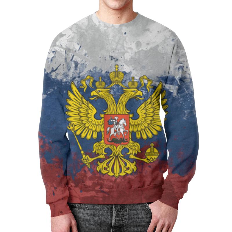 Printio Свитшот мужской с полной запечаткой Флаг и герб россии (триколор)