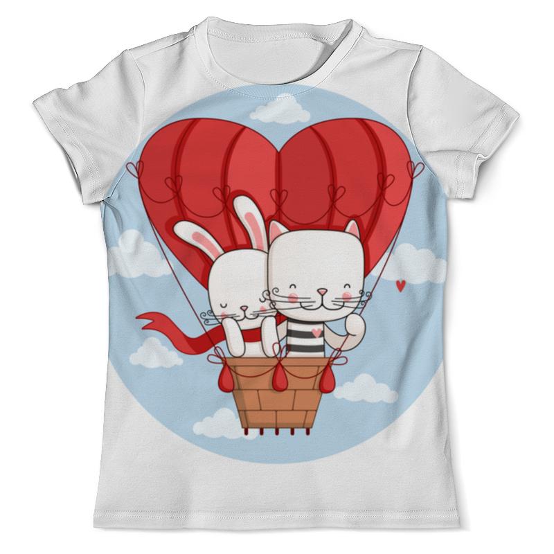Printio Футболка с полной запечаткой (мужская) Кот и зайка на воздушном шаре. парные футболки.