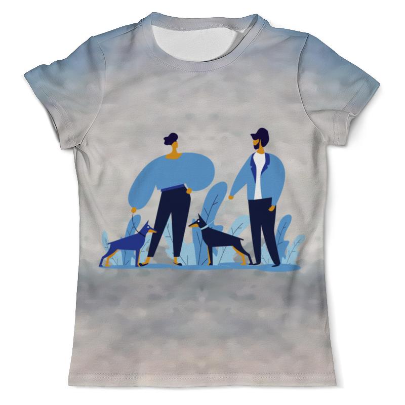 Printio Футболка с полной запечаткой (мужская) Прогулка с собакой