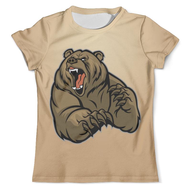 Printio Футболка с полной запечаткой (мужская) Ревущий медведь