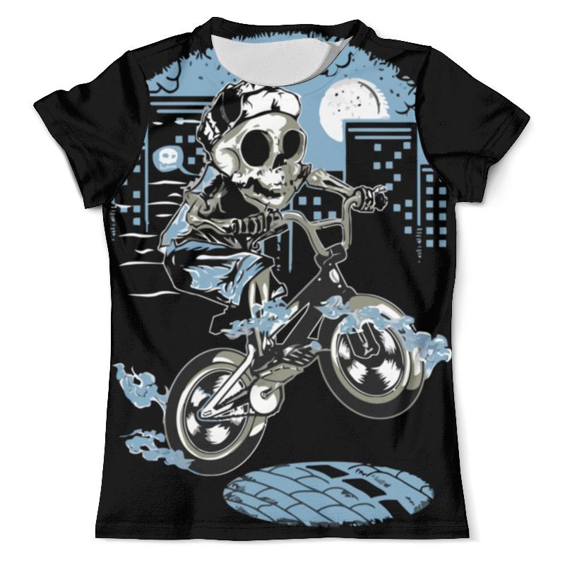 Printio Футболка с полной запечаткой (мужская) Скелет на мотоцикле