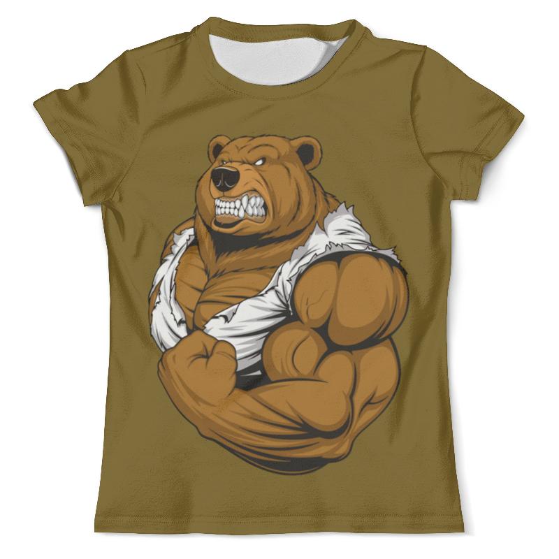 Printio Футболка с полной запечаткой (мужская) Медведь качок