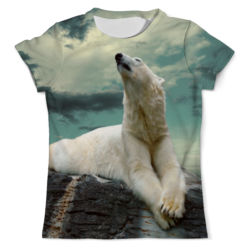 Printio Футболка с полной запечаткой (мужская) Белый медведь