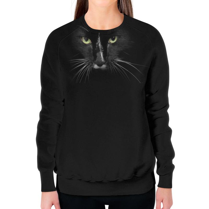 Printio Свитшот женский с полной запечаткой Черный кот