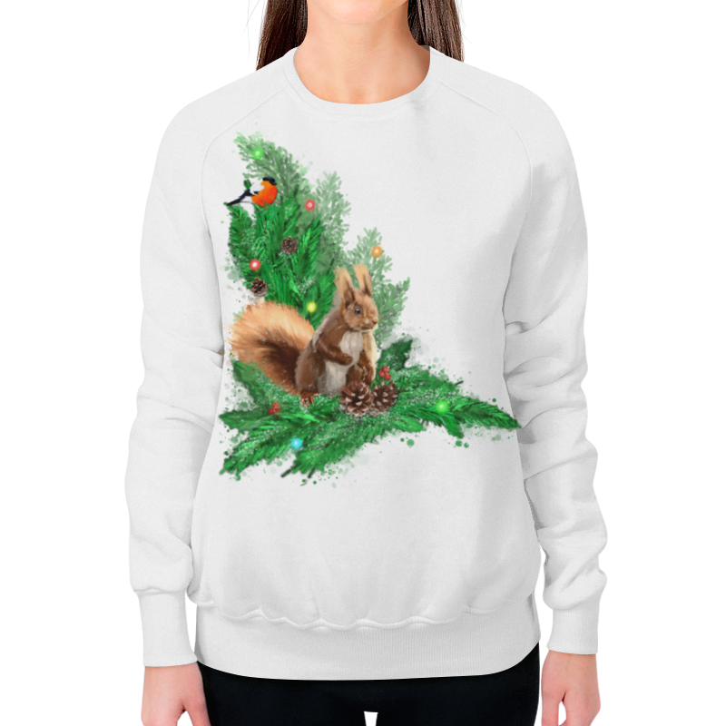 Printio Свитшот женский с полной запечаткой Белочка с шишками на елке. printio свитшот мужской с полной запечаткой белочка с шишками на елке