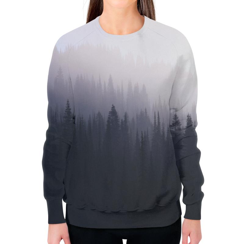 Printio Свитшот женский с полной запечаткой Лес туман природа серый