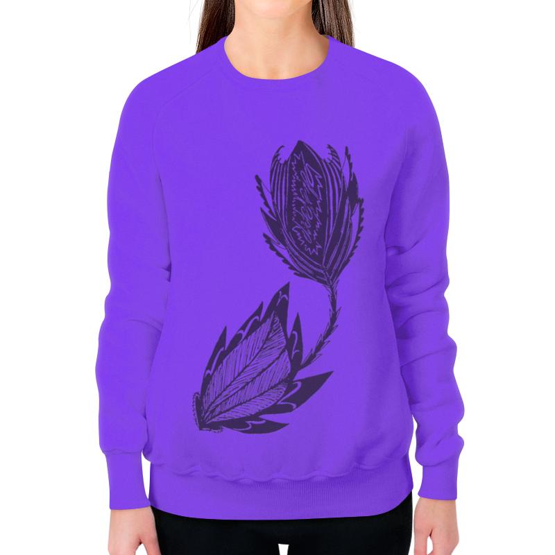 Printio Свитшот женский с полной запечаткой Черный цветок