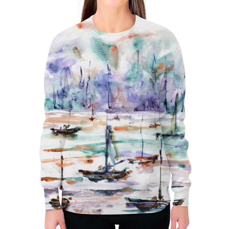 Printio Свитшот женский с полной запечаткой Лодки абстракция