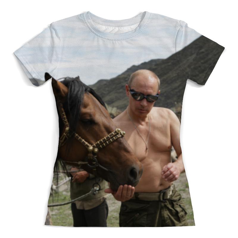 Printio Футболка с полной запечаткой (женская) Путин с конем