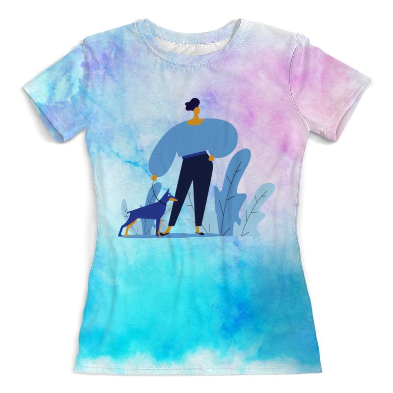 Printio Футболка с полной запечаткой (женская) Прогулка с собакой