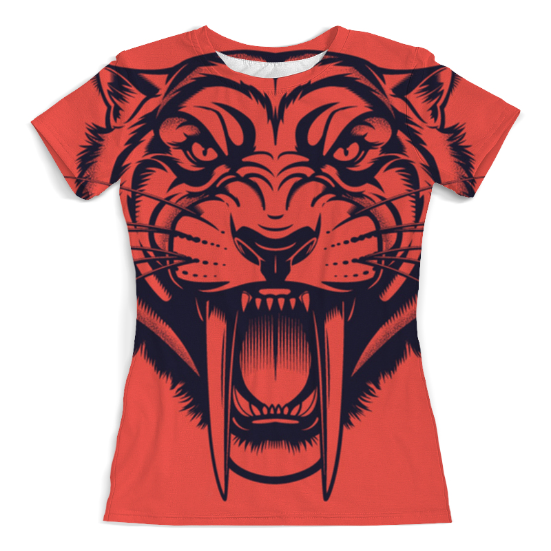 Printio Футболка с полной запечаткой (женская) Саблезубый тигр