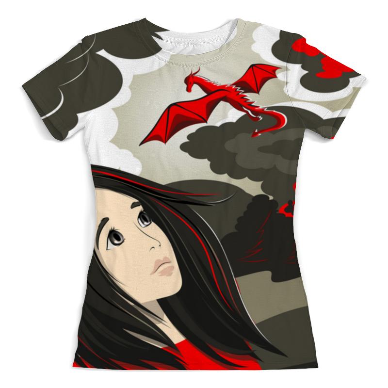 Printio Футболка с полной запечаткой (женская) Девушка и дракон